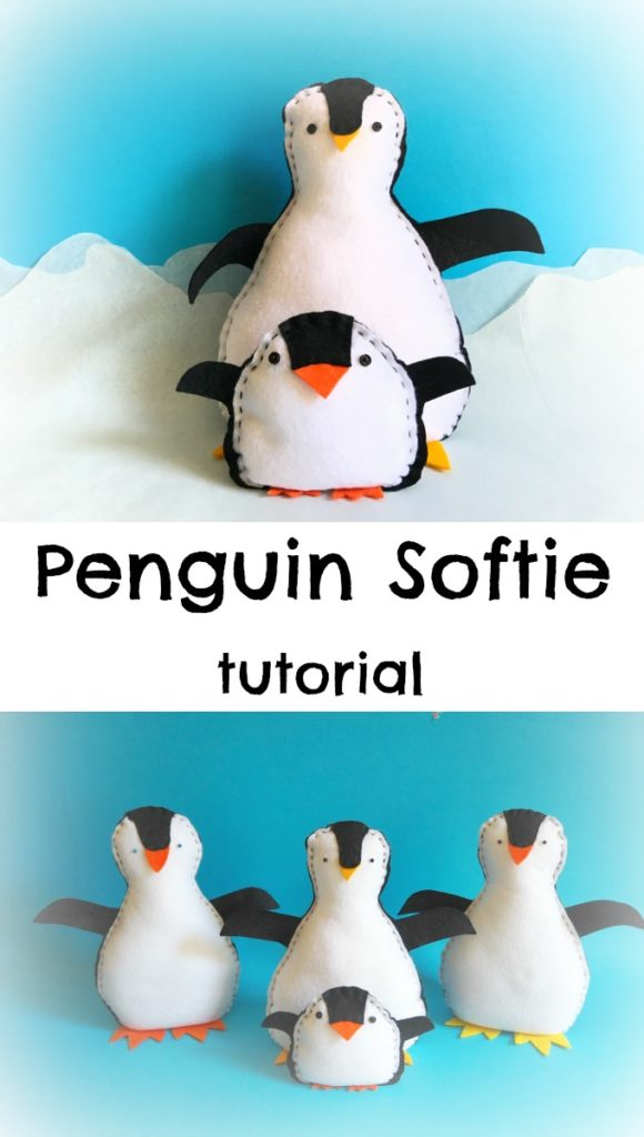 penguin softies on a blue background