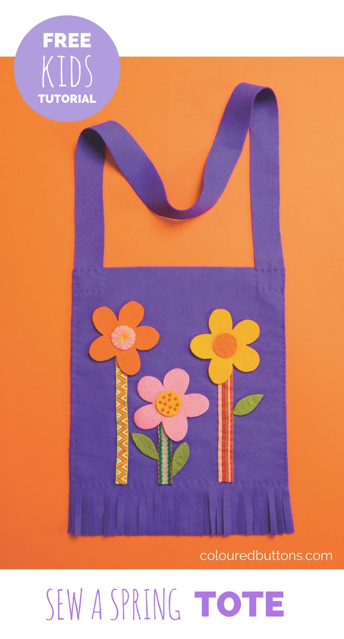 a simple spring flower tote to sew with kids