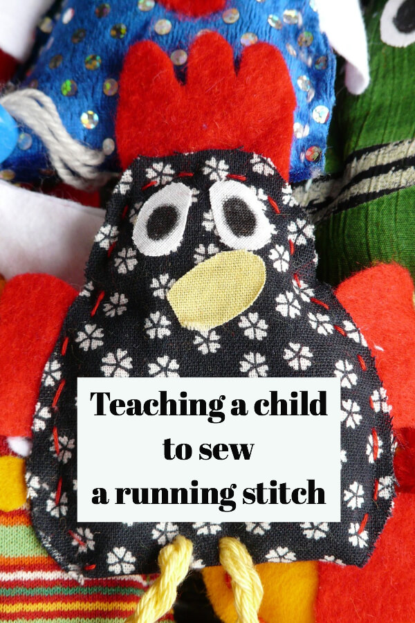 stuffed toy sewn by a child learning to sew a running stitch