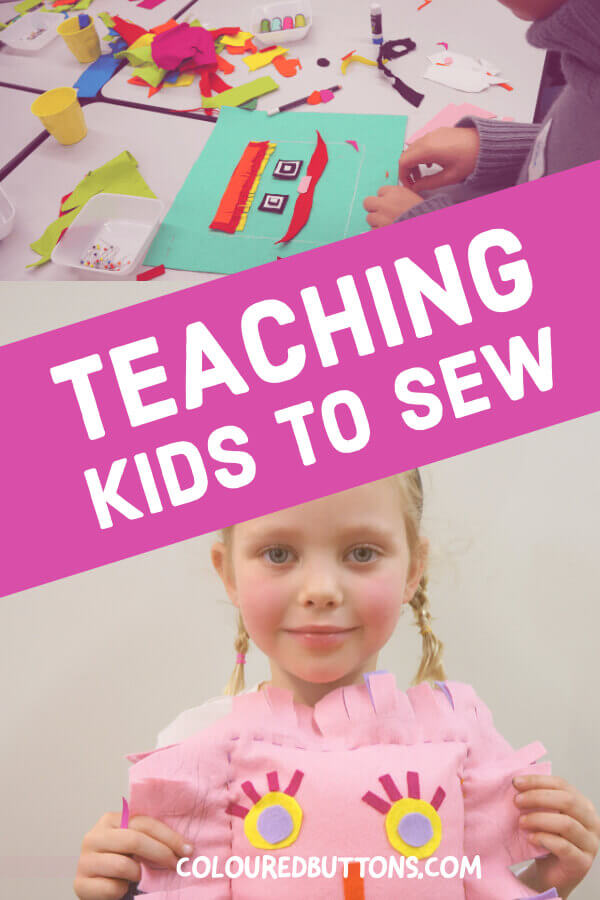 Teaching kids to sew and girl holding a softie she made