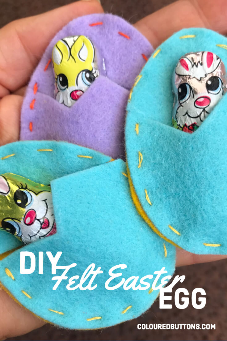 felt easter eggs with a chocolate bunny