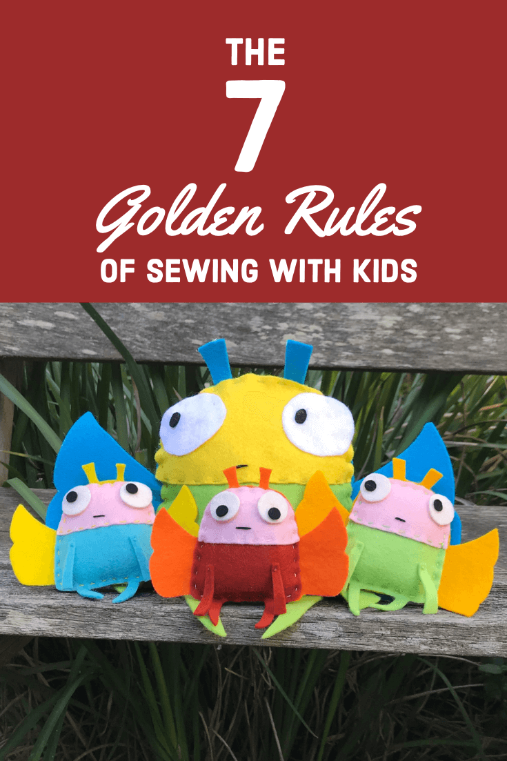 felt hand sewn soft toys with text, the 7 golden rules of teaching kids to sew.